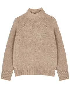 Camel high-neck cashmere jumper