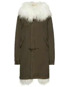Woman Shearling-trimmed Cotton-canvas Parka