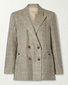 Merit Everynight Prince Of Wales Checked Linen And Wool-blend Blazer - 0