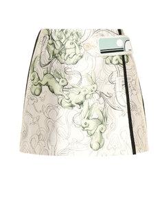 Printed silk-blend miniskirt