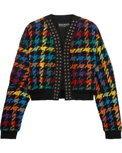 Woman Houndstooth Cotton-blend Bomber Jacket