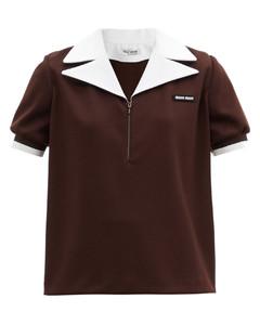 Contrast-collar zipped top