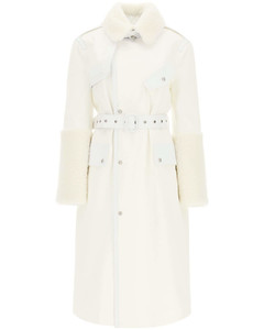 COTTON TRENCH COAT WITH LEATHER AND SHEARLING INSERTS