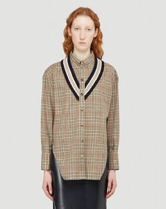 Knit Trim Shirt in Brown