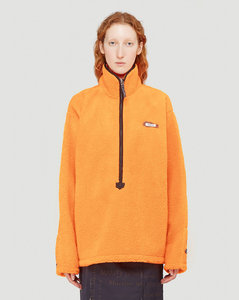 Faux-Shearling Pullover Jacket in Orange
