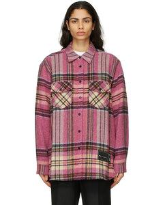 粉色格纹羊毛衬衫