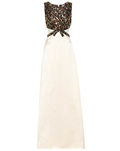 Leopard brocade silk-satin gown