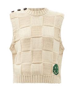 Sleeveless checkerboard-knit cotton-blend sweater