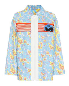Printed stretch denim jacket