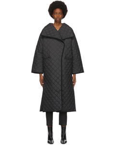 黑色Annecy绗缝大衣