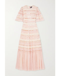 Nancy Sequin-embellished Ruffled Tulle Gown