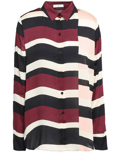 Essential striped washed-satin shirt