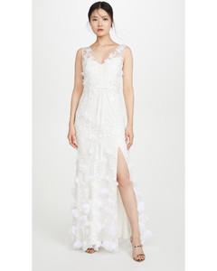3D雪纺花朵和正面开衩V领刺绣礼服