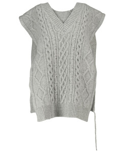 Cable-knit wool sweater vest