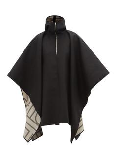 Hooded felt poncho