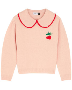 Lula pink embroidered wool jumper