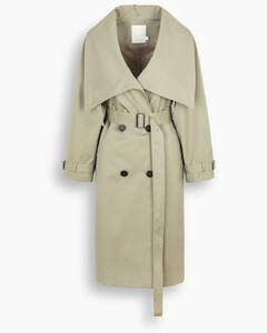 Khaki wide-collar trench coat
