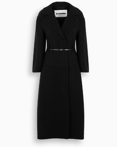 Single-breasted belted coat