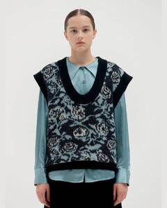 Floral Jacquard Oversized Knit Vest_Black