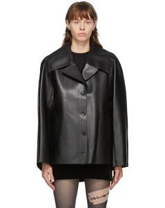 黑色插肩袖合成皮革夹克