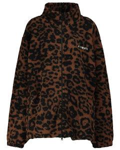 豹纹抓绒夹克
