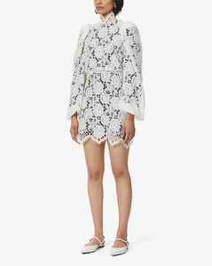 Mya balloon-sleeved floral-lace mini dress