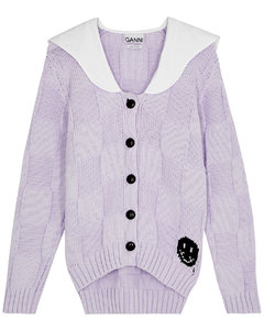 Lilac cotton-blend cardigan