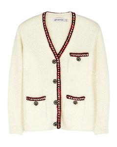 Ivory cotton-blend metallic knit cardigan