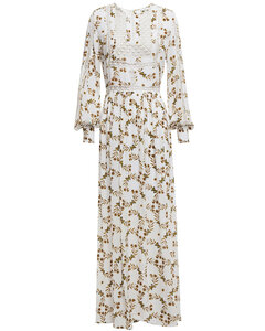 Arnold crochet-trimmed printed crepe de chine maxi dress