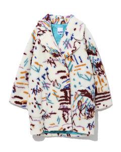 Painted wool-blend overcoat