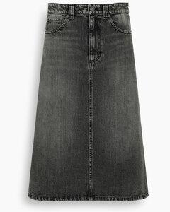 Black faded denim midi skirt
