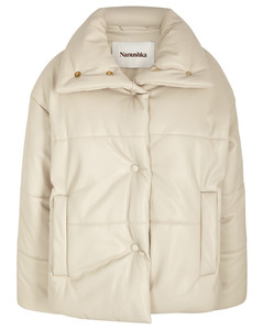 Hide cream padded faux leather jacket
