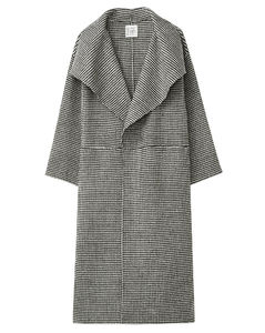Annecy shawl-lapel wool-blend houndstooth coat
