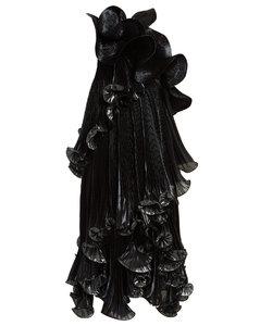 One-shoulder ruffled Lurex silk-blend dress