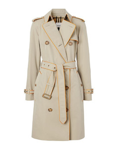 Piped cotton gabardine trench coat