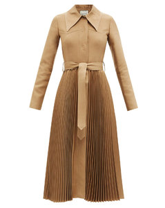 Pleated wool-blend trench coat