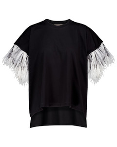羽毛边饰棉质T恤