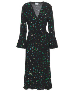 Woman Gingham Crepe Midi Wrap Dress