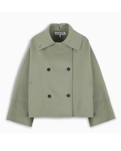 Military green double-breasted short jacket