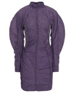 Woman Ruched Gingham Seersucker Mini Dress