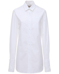 Woven Cotton Longline Shirt