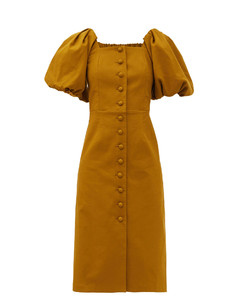 Marianne puff-sleeve buttoned cotton dress
