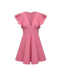 V-Neck Dress in White