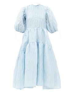 Libby tiered Aurora-jacquard linen-blend dress