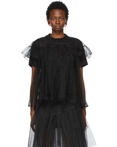 SSENSE发售黑色薄纱罩层T恤
