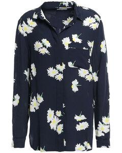 Woman Silvery Floral-print Crepe Shirt