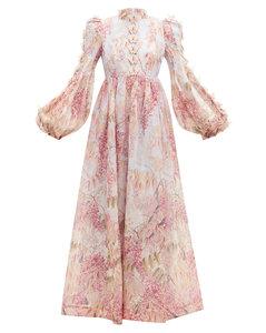 Botanica floral linen-blend organza maxi dress