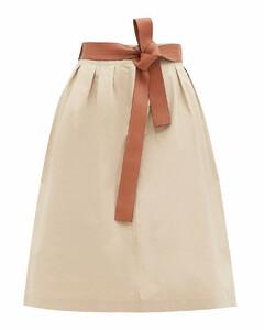 Leather-belt cotton-poplin skirt