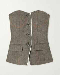 Keily Strapless Herringbone Wool-blend Bustier Top