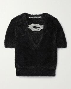 Crystal-embellished Faux Fur Top
